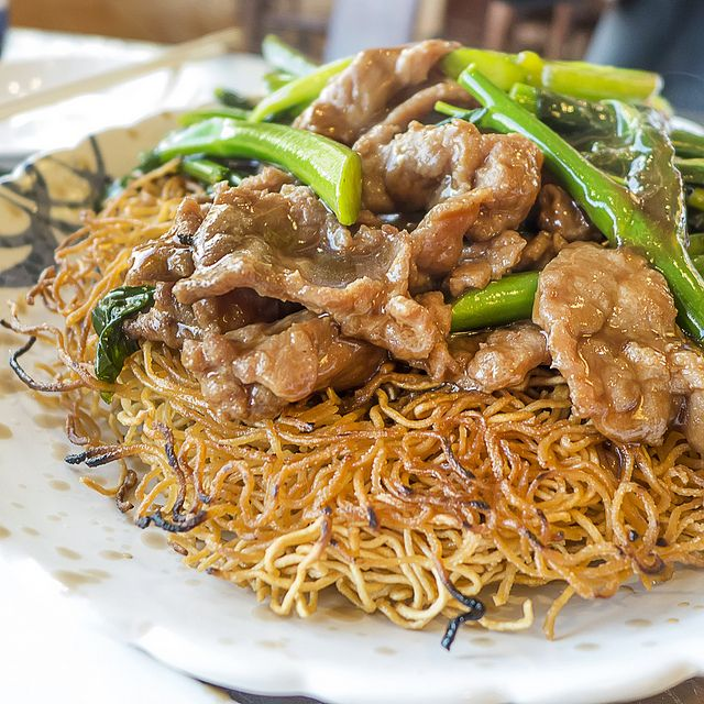 Pan Fried Noodles Served With Beef Empire Szechuan Of Bethel Ct